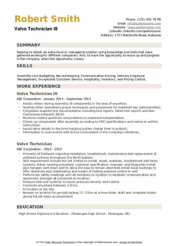 Valve Technician III Resume Sample