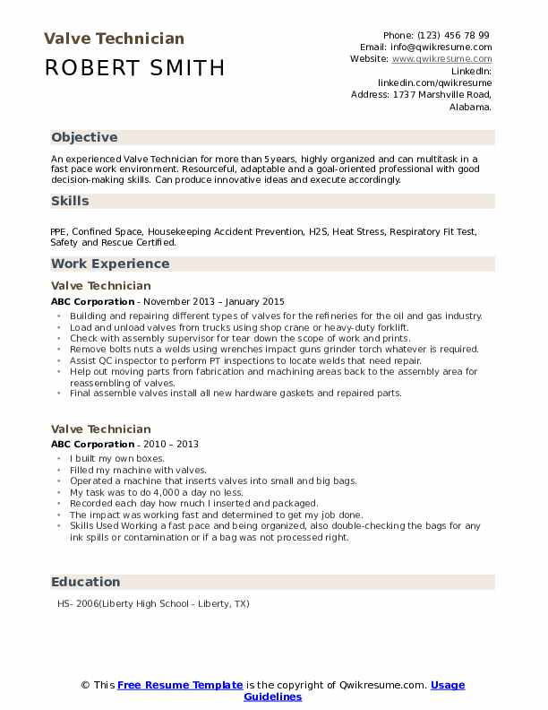 Valve Technician Resume example