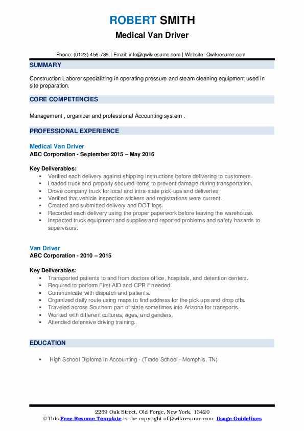 Medical Van Driver Resume Format
