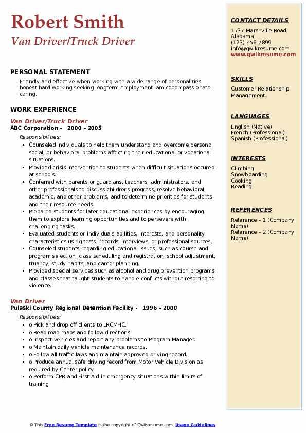 Van Driver/Truck Driver Resume Example