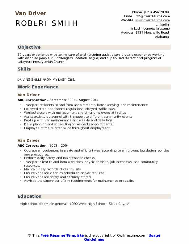 Van Driver Resume example