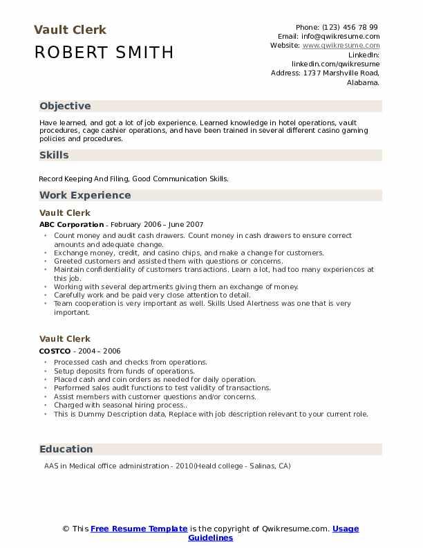 Vault Clerk Resume example