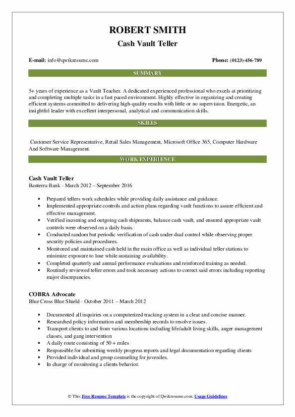 Cash Vault Teller Resume Sample