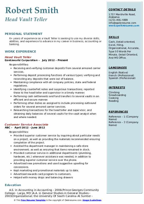 Head Vault Teller Resume Template