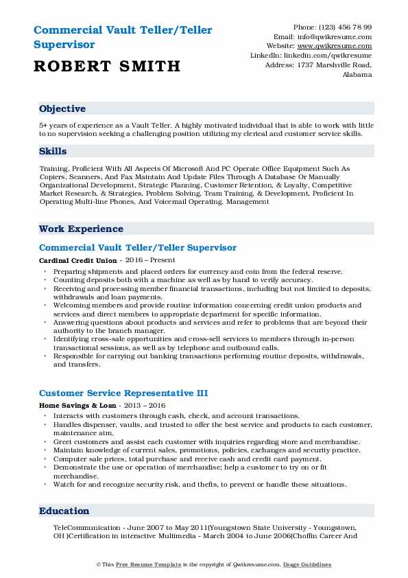 Vault Teller Resume Samples Qwikresume