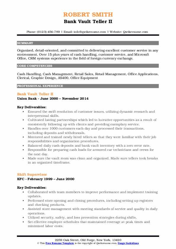 Bank Vault Teller II Resume Example
