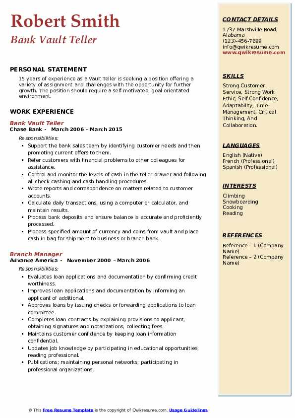 Bank Vault Teller Resume Template