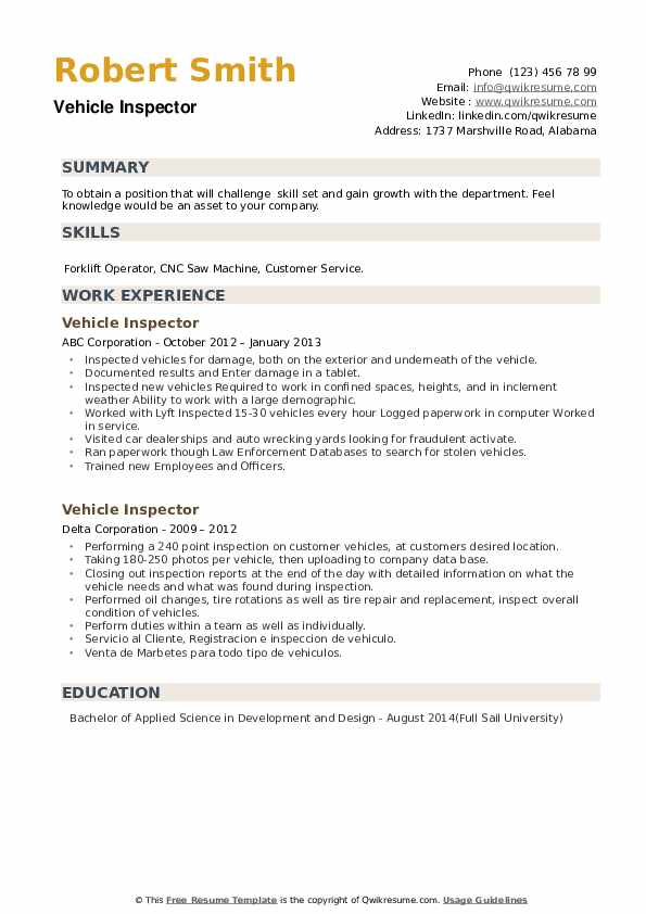 Vehicle Inspector Resume example