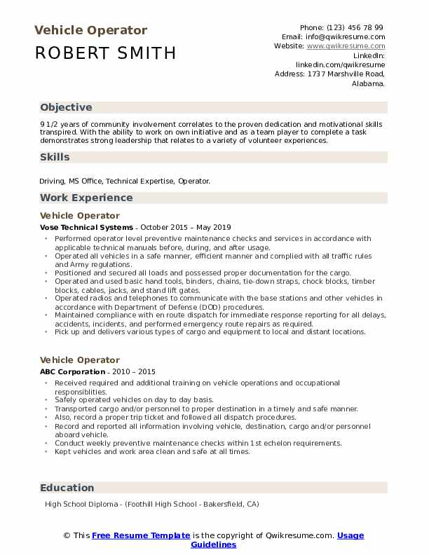 Vehicle Operator Resume Format