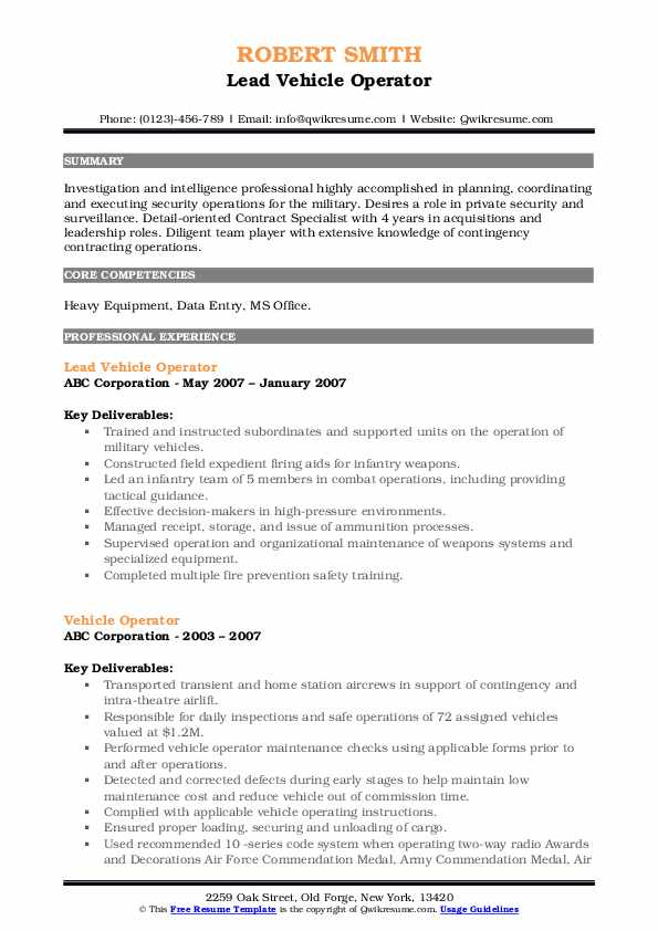 Lead Vehicle Operator Resume Format
