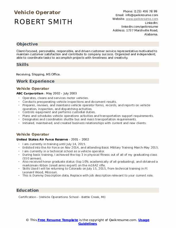 Vehicle Operator Resume Sample