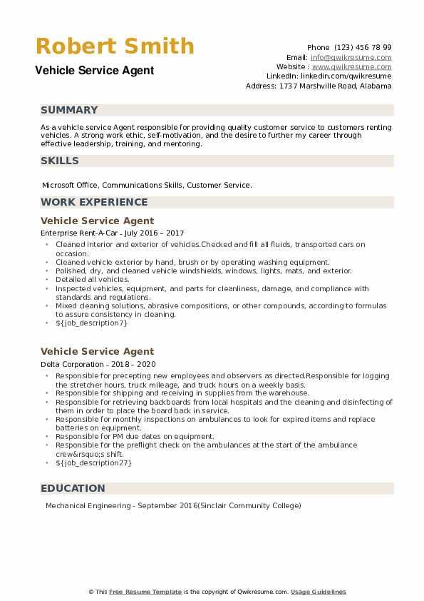 Vehicle Service Agent Resume example