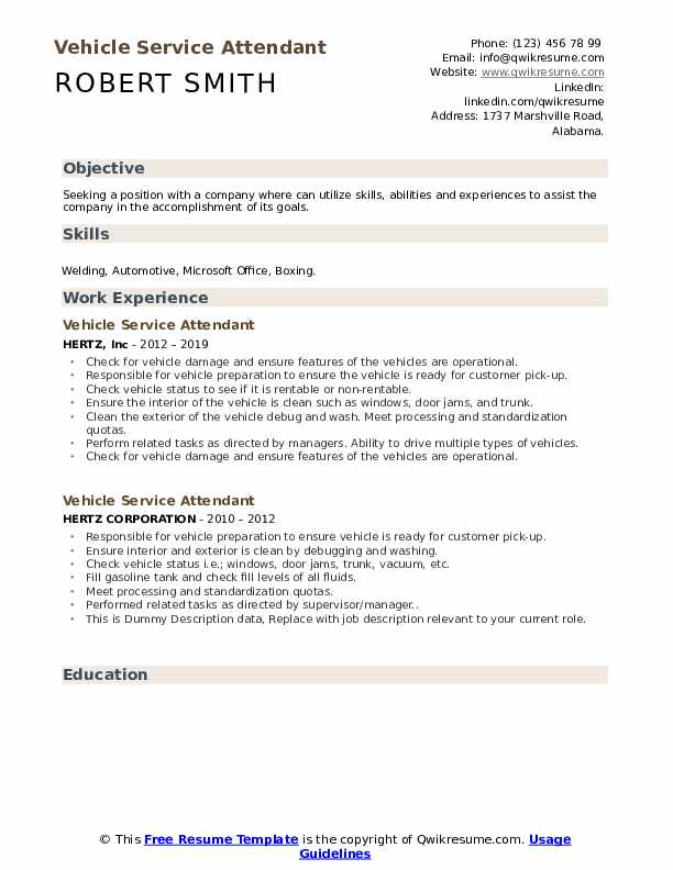 Vehicle Service Attendant Resume example