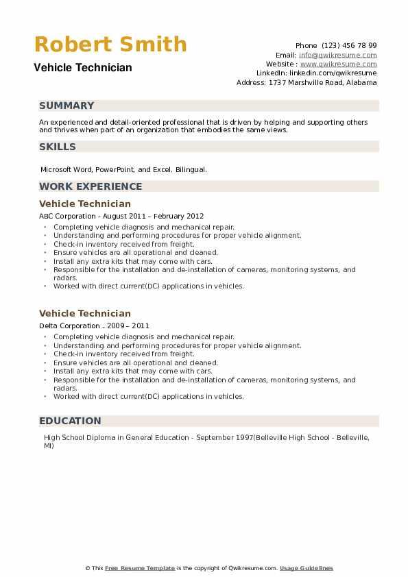 Vehicle Technician Resume example