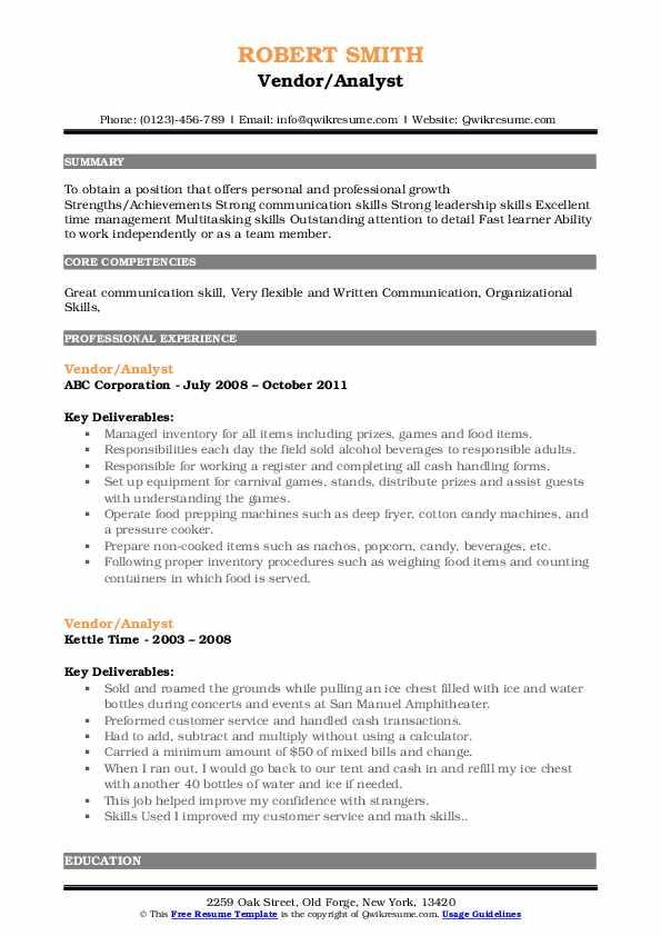 vendor resume samples  qwikresume
