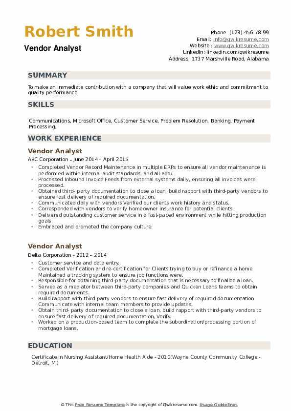 Vendor Analyst Resume example