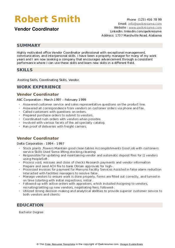 Vendor Coordinator Resume example
