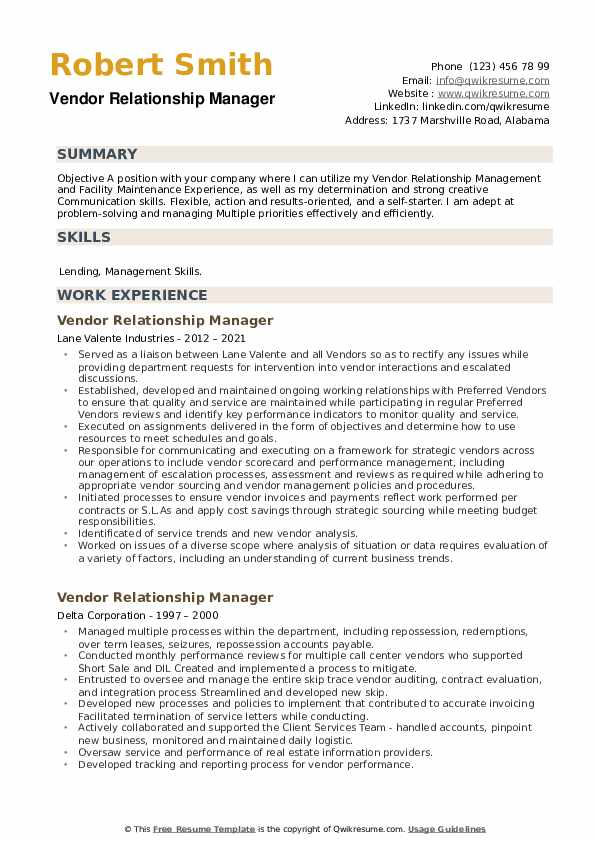 Vendor Relationship Manager Resume example