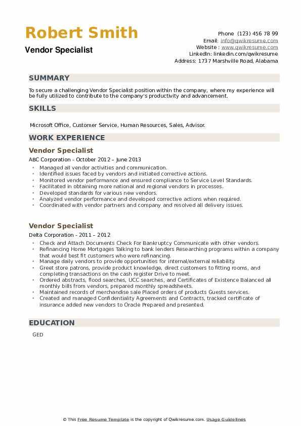 Vendor Specialist Resume example
