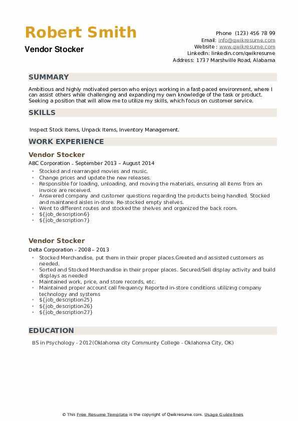 Vendor Stocker Resume example