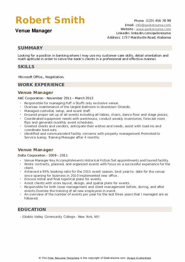Venue Manager Resume example