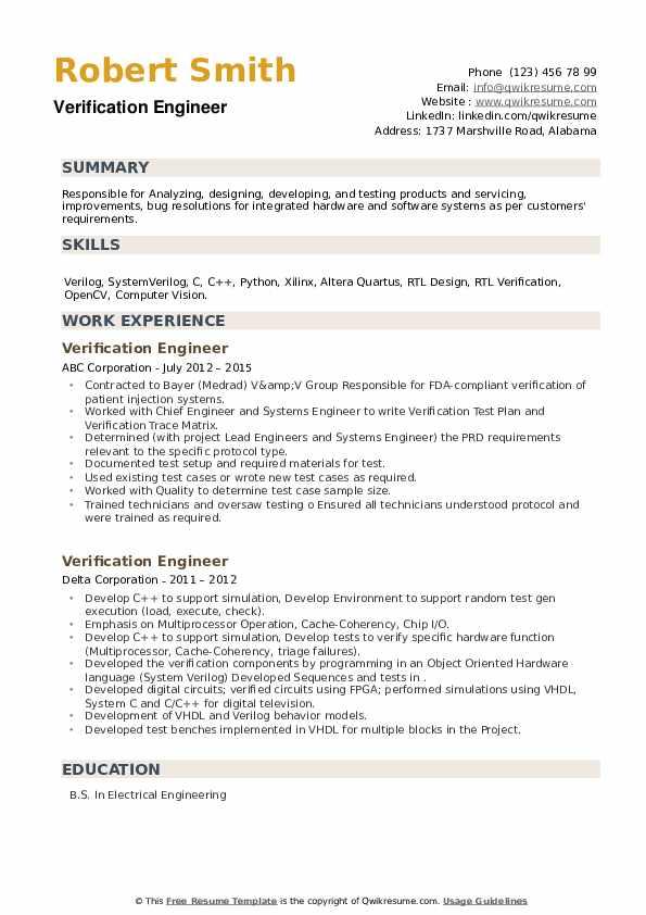 Verification Engineer Resume example