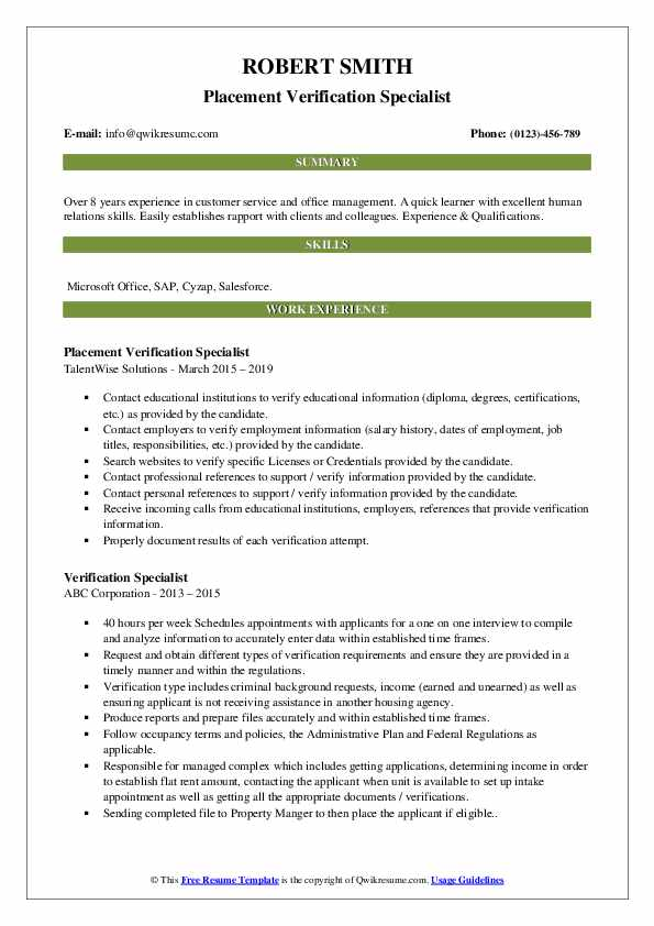 Placement Verification Specialist Resume Sample