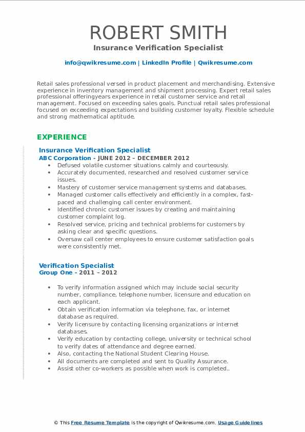 Verification Specialist Resume Samples Qwikresume
