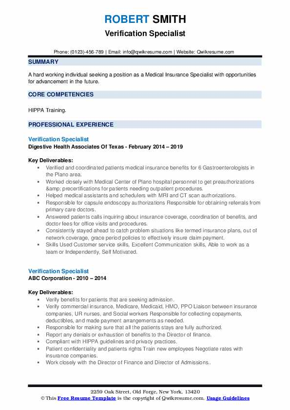Verification Specialist Resume example