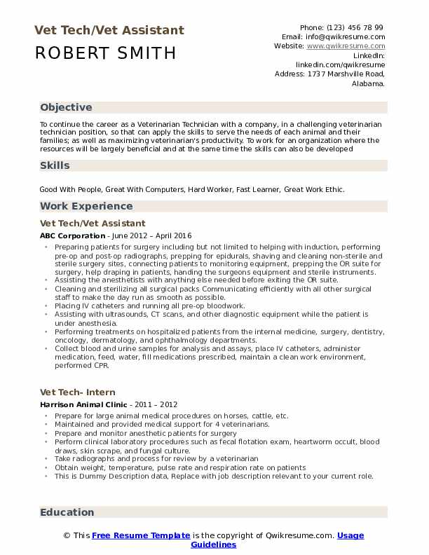 Vet Tech/Vet Assistant Resume Sample