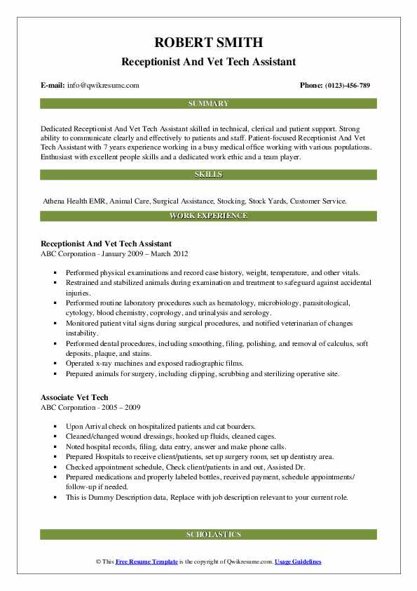 Receptionist And Vet Tech Assistant Resume Example