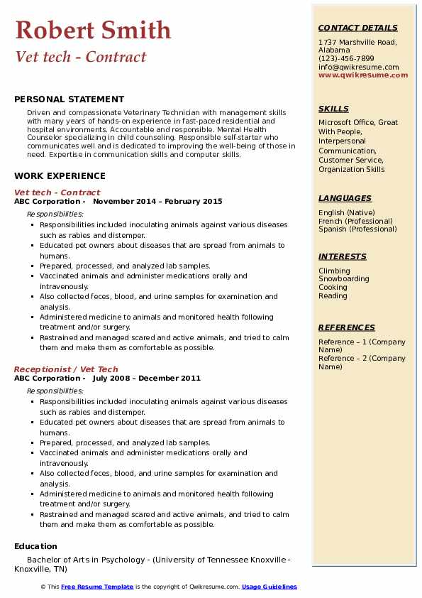 Vet tech - Contract Resume Format