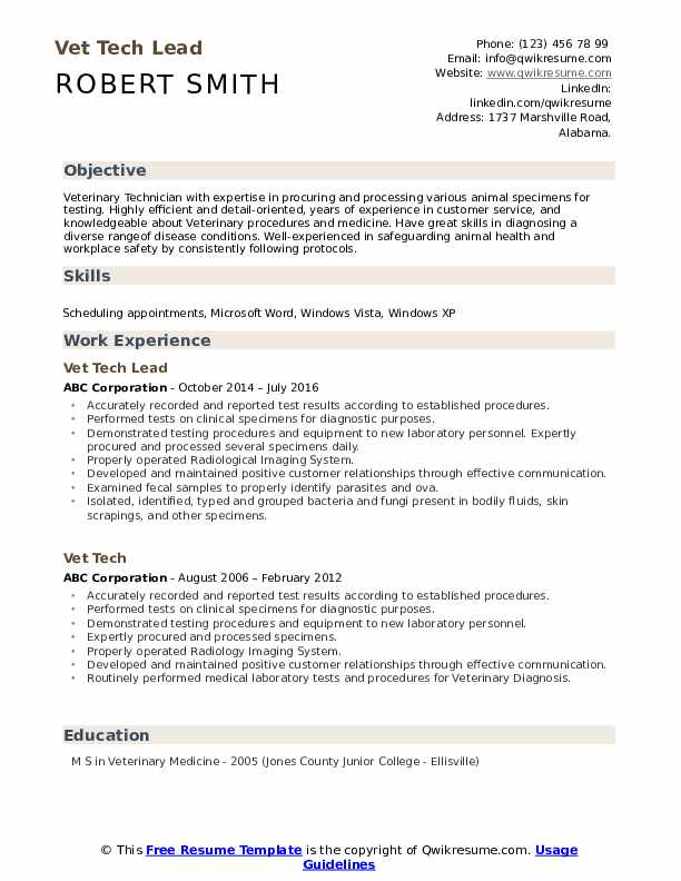 Vet Tech Resume example