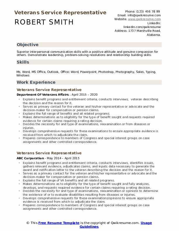 veterans service representative resume samples