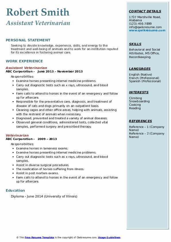 veterinarian resume samples  qwikresume