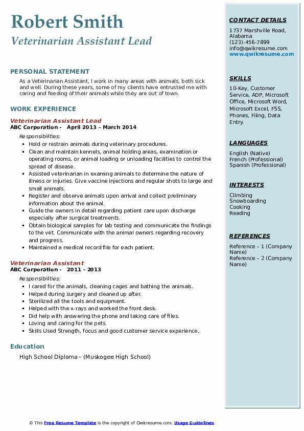 Veterinarian Assistant Lead Resume Template