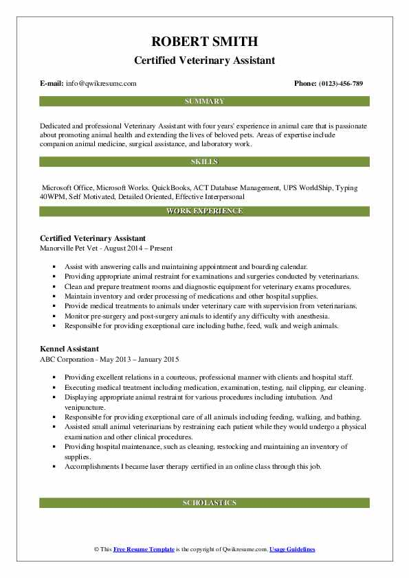 Certified Veterinary Assistant Resume Sample