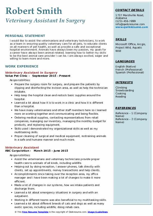 Veterinary Assistant In Surgery Resume Example