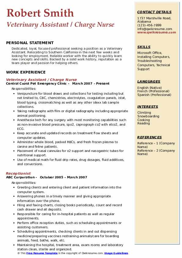Veterinary Assistant / Charge Nurse Resume Model