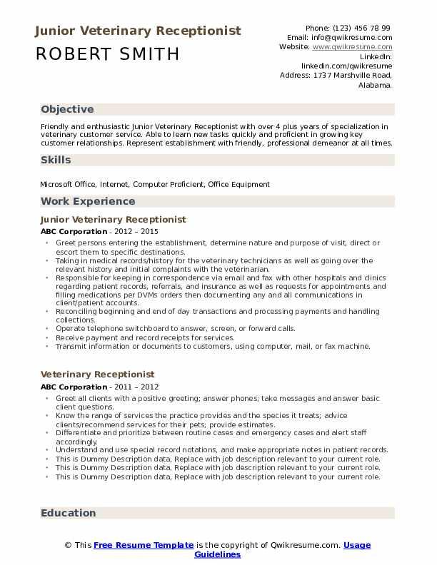 Junior Veterinary Receptionist Resume Example