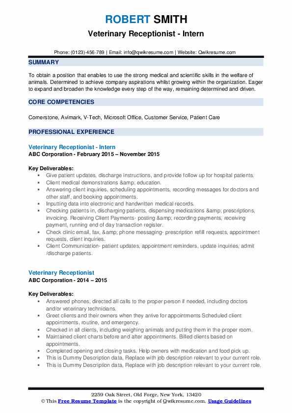 Veterinary Receptionist - Intern Resume Example