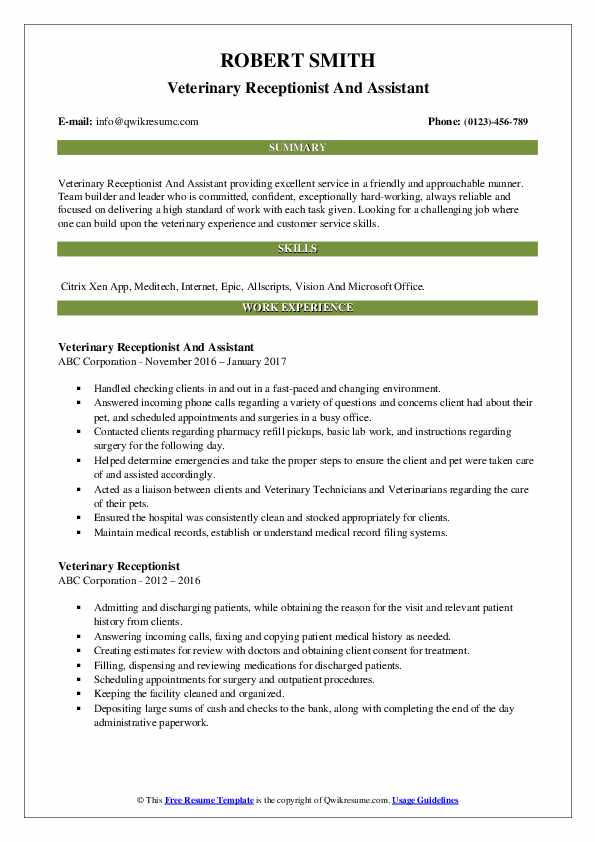 Veterinary Receptionist And Assistant Resume Template