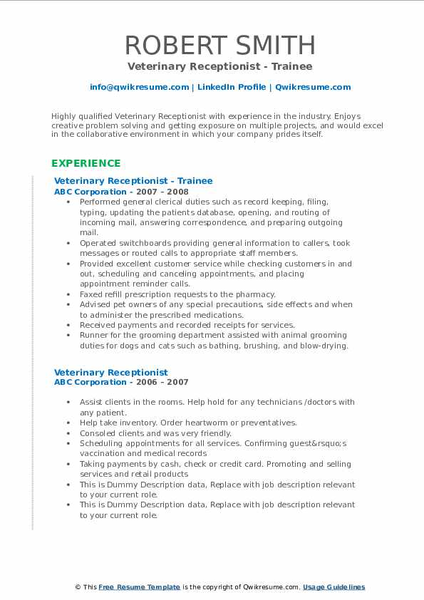 Veterinary Receptionist - Trainee Resume Format