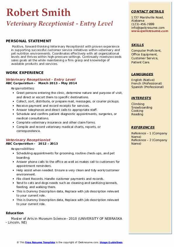Veterinary Receptionist - Entry Level Resume Sample