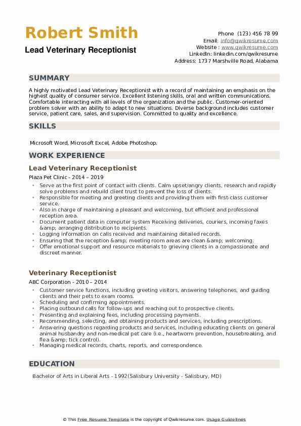 Lead Veterinary Receptionist Resume Model