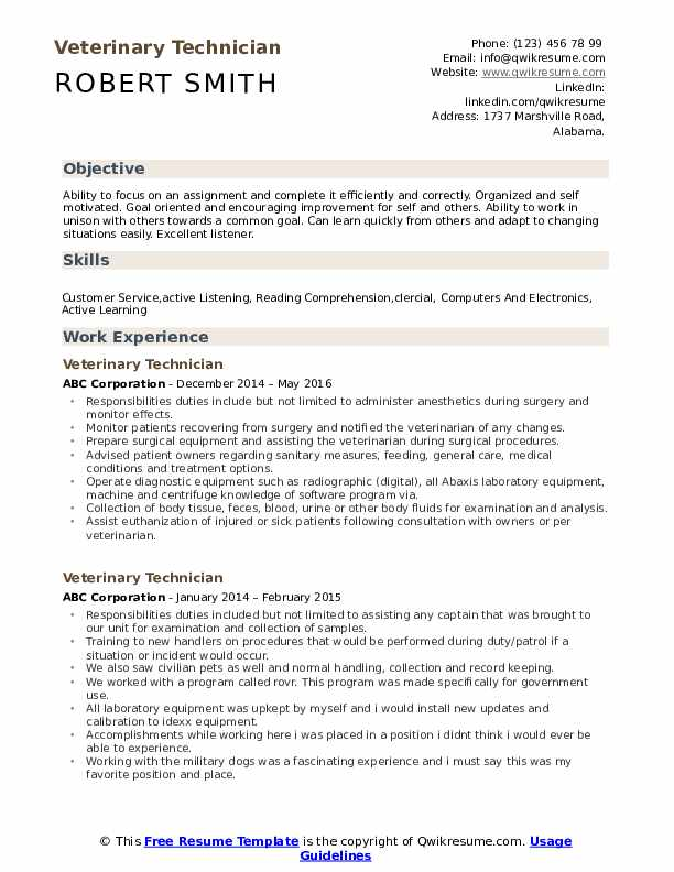 Veterinary Technician Resume Model