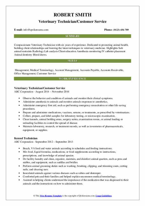 Veterinary Technician/Customer Service Resume Format