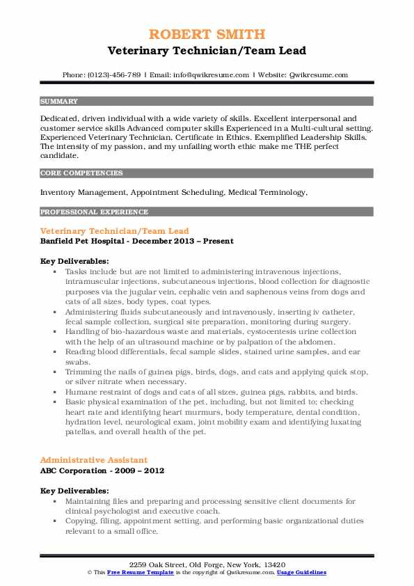 Veterinary Technician/Team Lead Resume Example