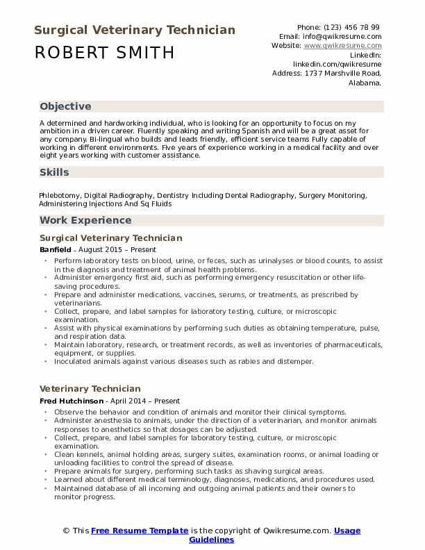 Surgical Veterinary Technician Resume Example