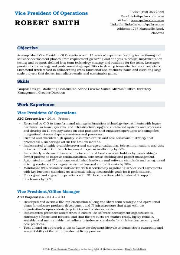 Vice President Of Operations Resume Format